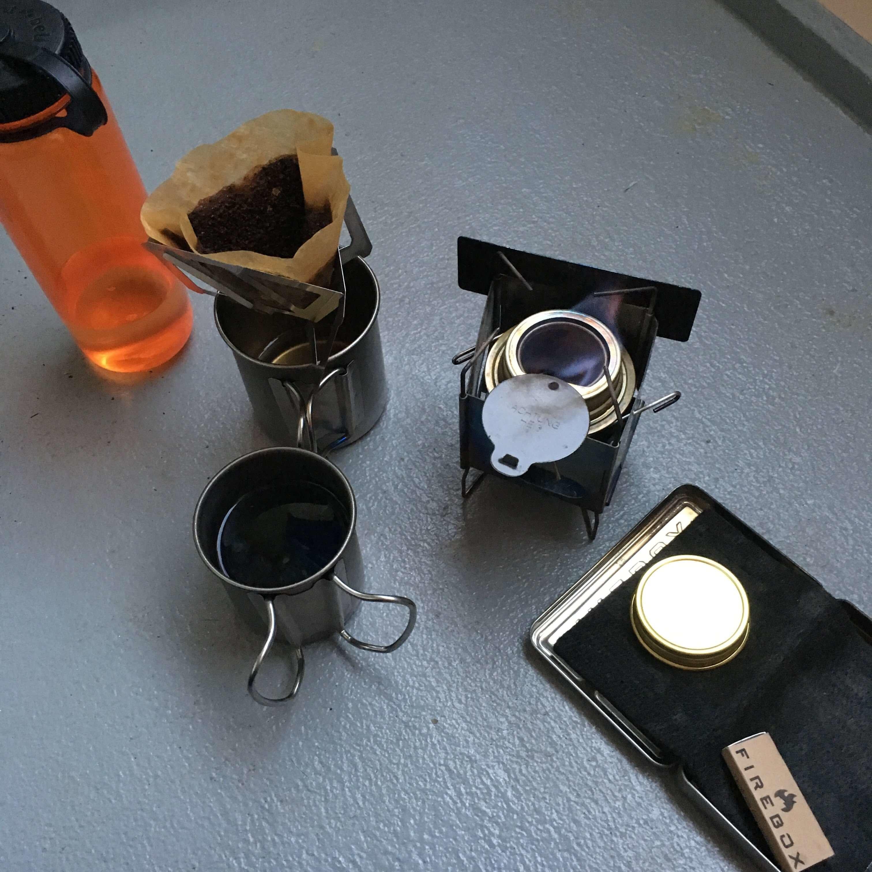 ベランダでコーヒー