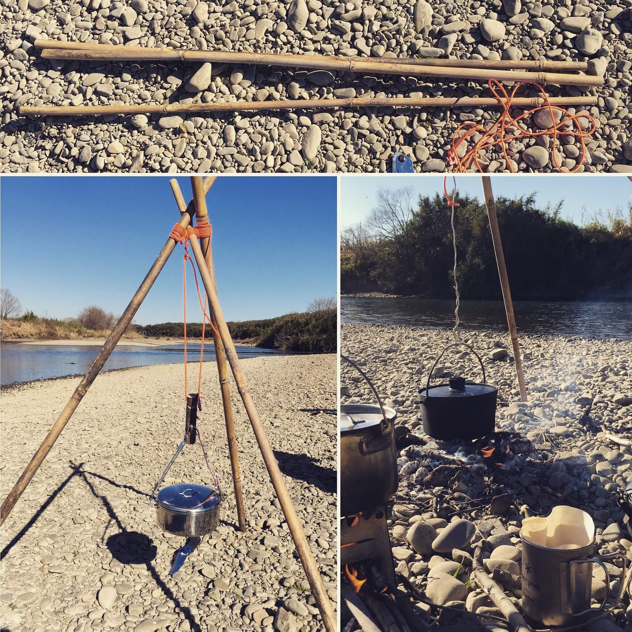 河原でキャンプ